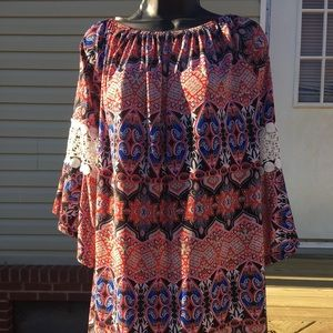 Red and blue Aztec tunic long sleeve (large)